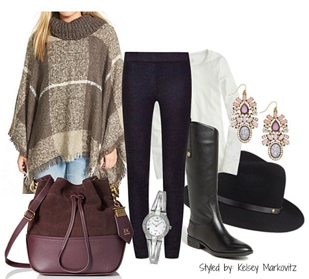poncho and jeans riding boots
