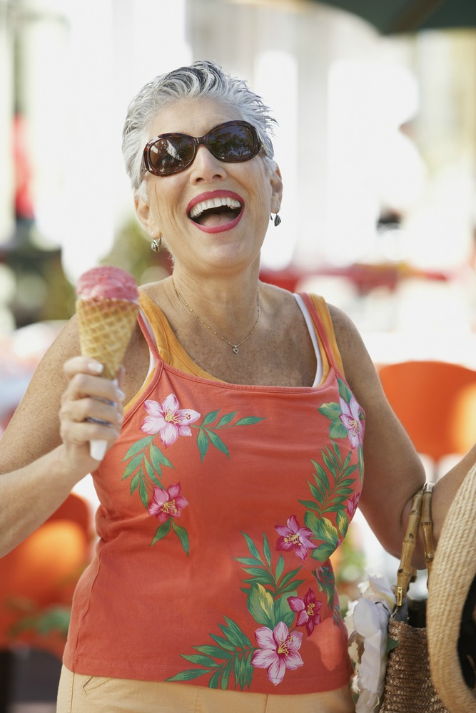 woman with ice cream cone