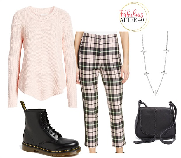 Dr. Martens - Plaid Pants, pinks sweater outfit styled - how to wear combat boots over 40