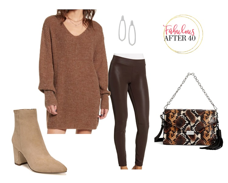 Leather Leggings Outfit l Brown leggings, brown sweater dress, booties l styled by Fabulous After 40
