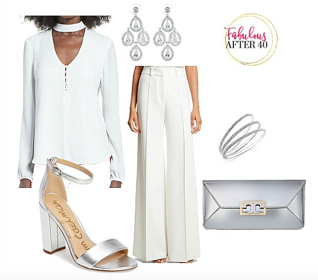 How to Wear White pants in Winter | White blouse with choker collar, white flare pants, silver accessories outfit