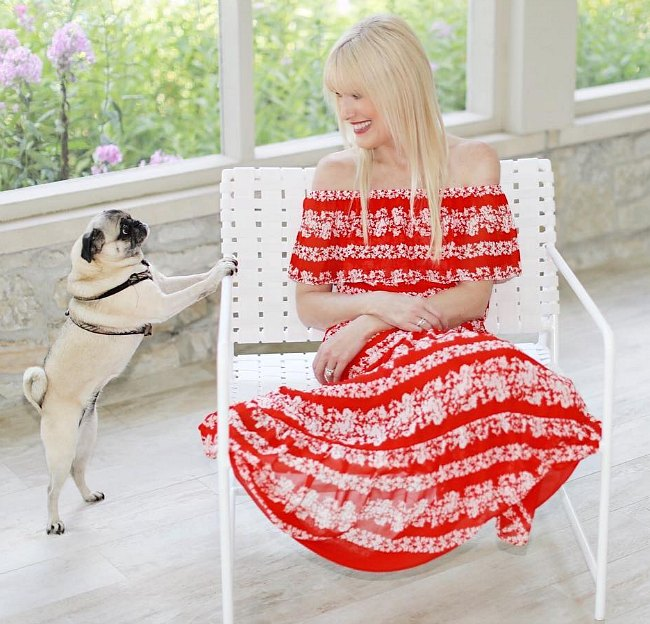 Off the shoulder peasant dress in poppy red