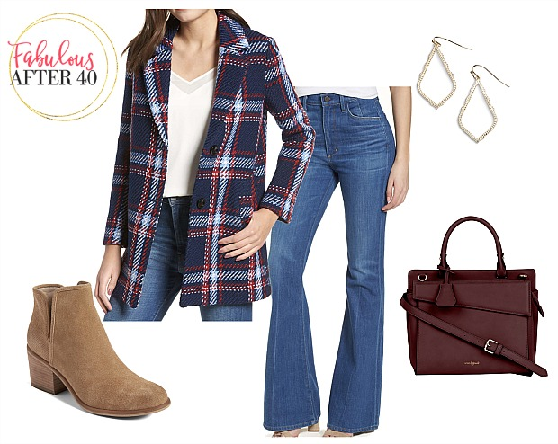 Flare Jeans with Plaid - Pea Coat