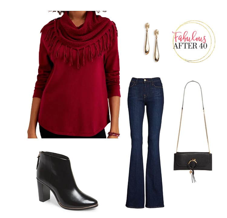 Fringe outfit  - Red fringe sweater with flare jeans