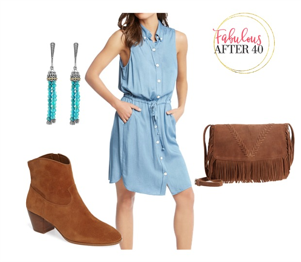 What to Wear to a Country Music Concert - Denim shirtdress, turquoise jewelry, cowboy booties and fringe bag outfit styled by Fabulous After 40 | Deborah Boland