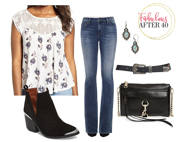 What to Wear to a Country Concert | Floral Top, Boot Cut Jeans, Cowwboy booties outfit styled by Fabulous After 40 | Deborah Boland