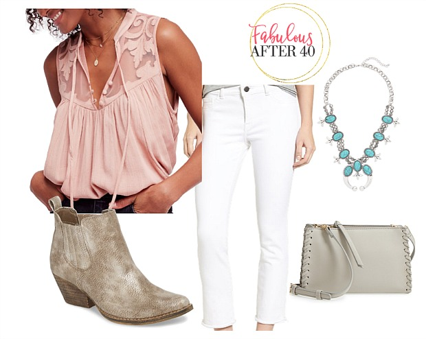 What to Wear to a Country Music - Peach Lace Top and White Jeans with Cowboy Booties and Turquoise necklace styled by Fabulous After 40 | Deborah Boland