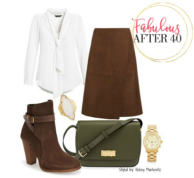 70's style suede skirt white shirt