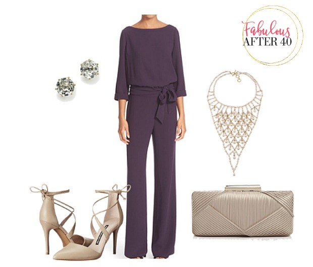 Dressy purple jumpsuit with dressy accessories