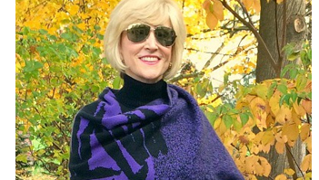 Wrap Up Your Style in a Wrap Hope   Purple wrap worn by Deborah Boland   Fabulous After 40