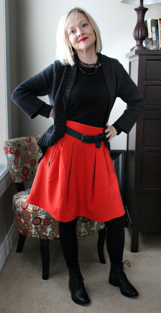 petite-over-40-red-skirt