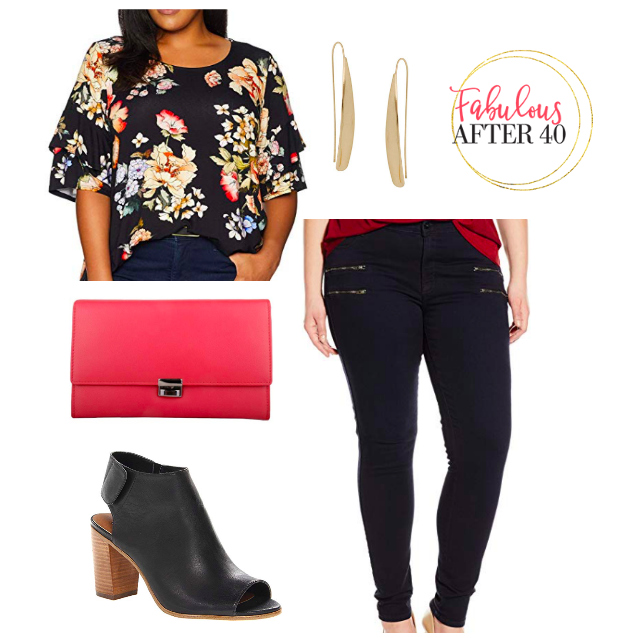 Dark Floral blouse with black jeans   plus size fall outfit