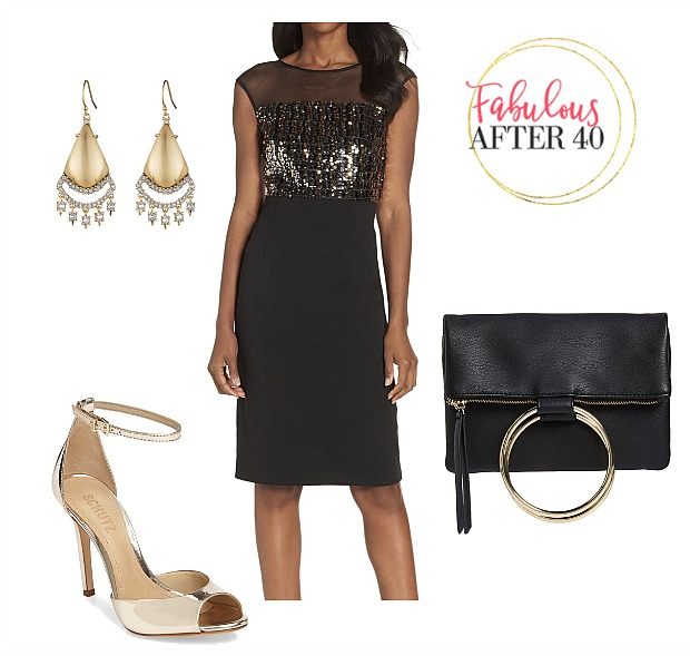 Little Black Dress with Sheer sequin bodice l styled by Fabulous After 40