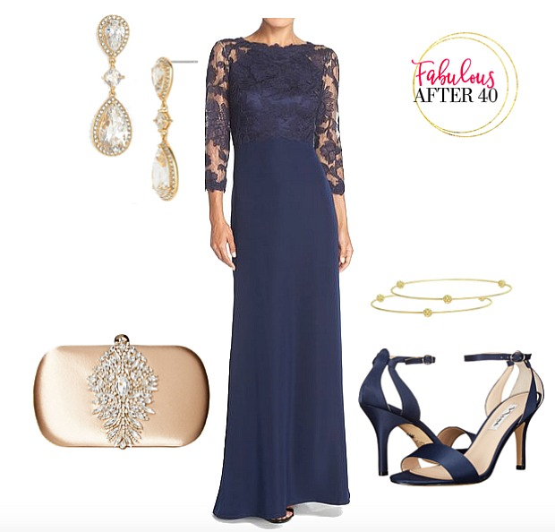 Mother of the Bride dress navy lace