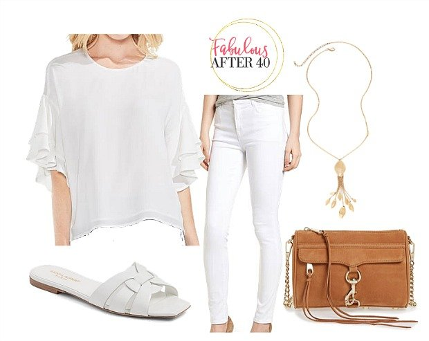 White pants with white top for women over 40