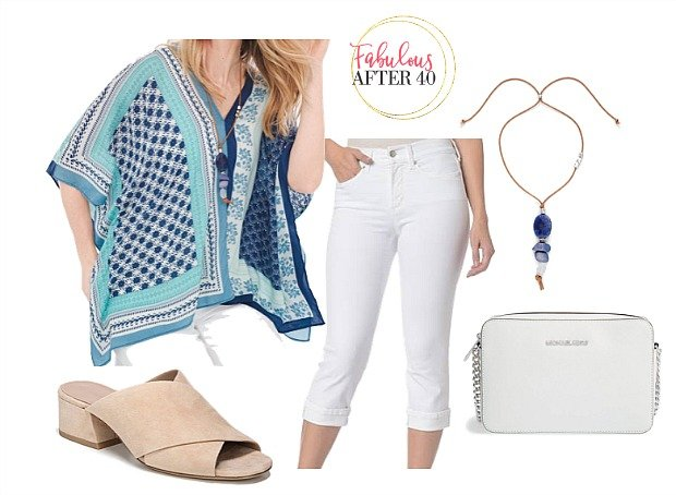 White pants with statement top