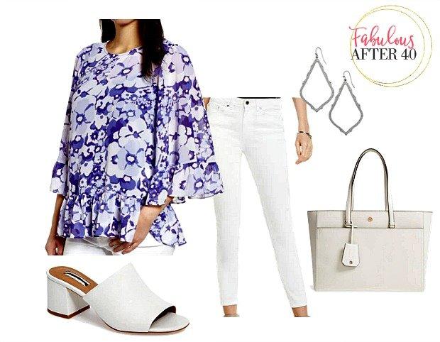White Pants - Purple Floral Top