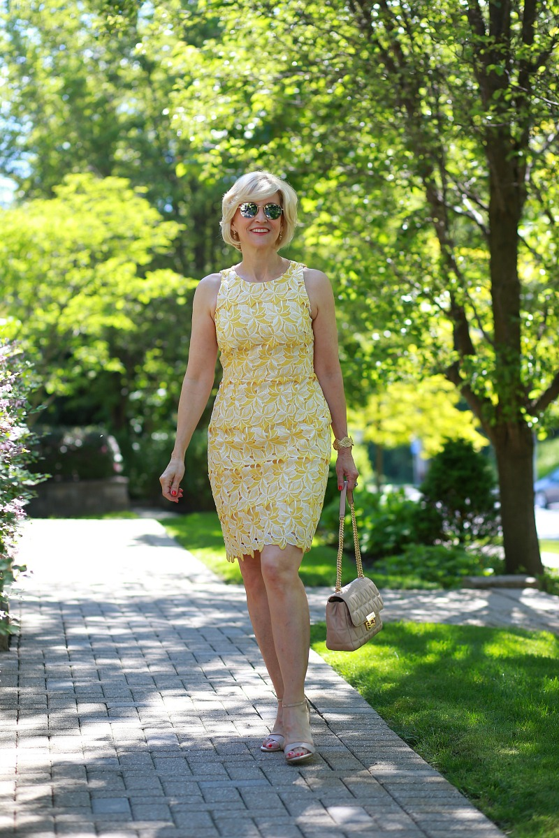 Yellow lace dressfor women over 40   Deborah Boland   Fabulous After 40