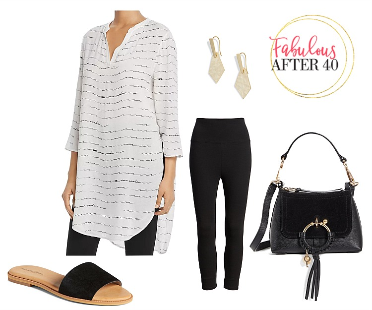 What to Wear With Capris Leggings - Long wave print shirt with black leggings