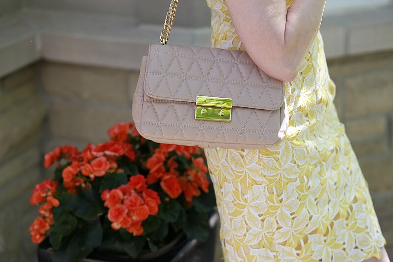 Nude Quilted Gold Chain Chanel style purse by Michael Kors