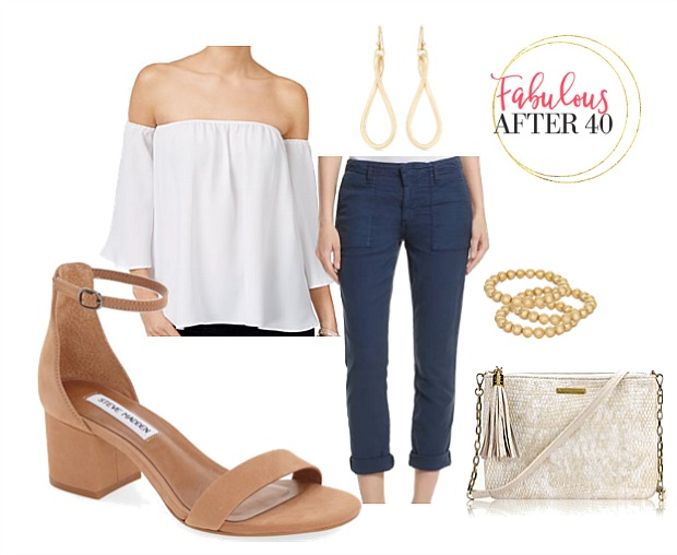 White off the shoulder top and jeans