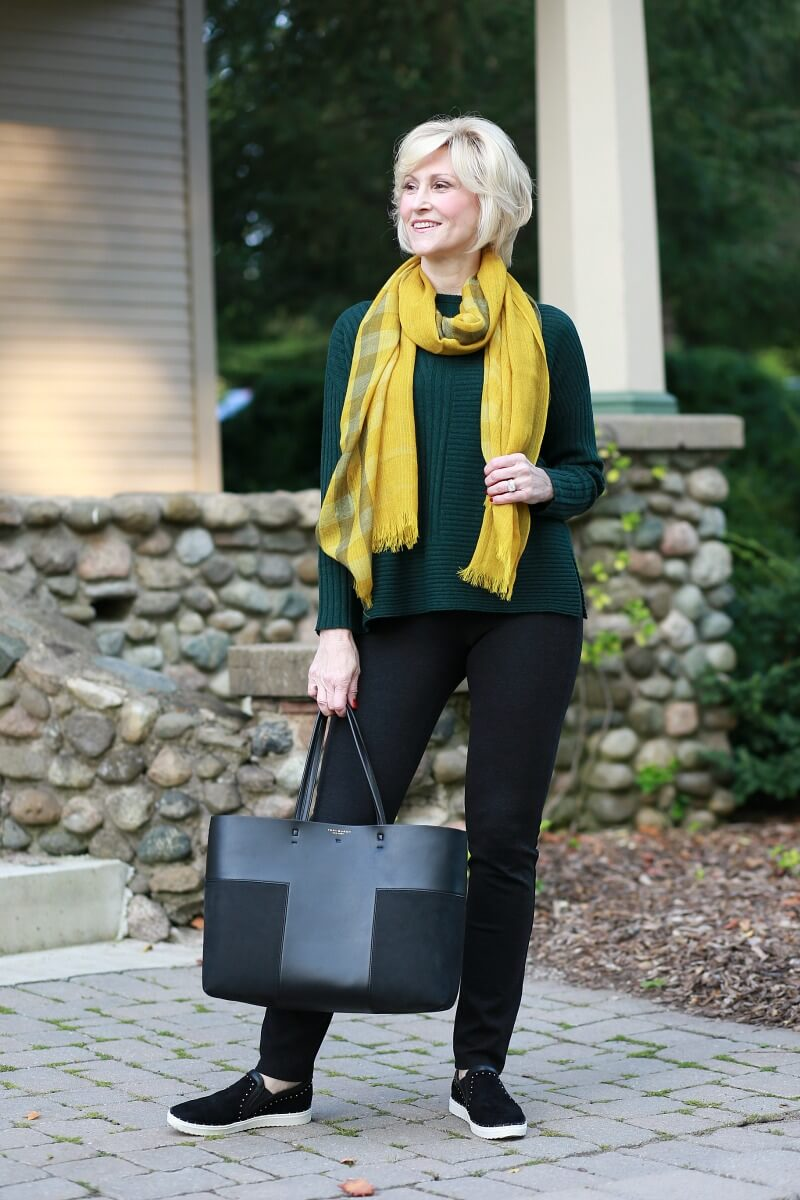 green sweater gold scarf 5