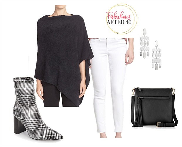 White jeans after Labor Day Outfit | White Jeans, Black Poncho, houndstooth booties | styled by Fabulous After 40