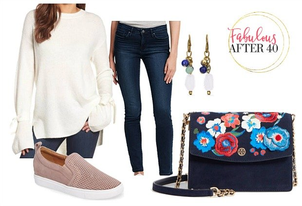 White Sweater SKinny Jeans Embroidered crossbody