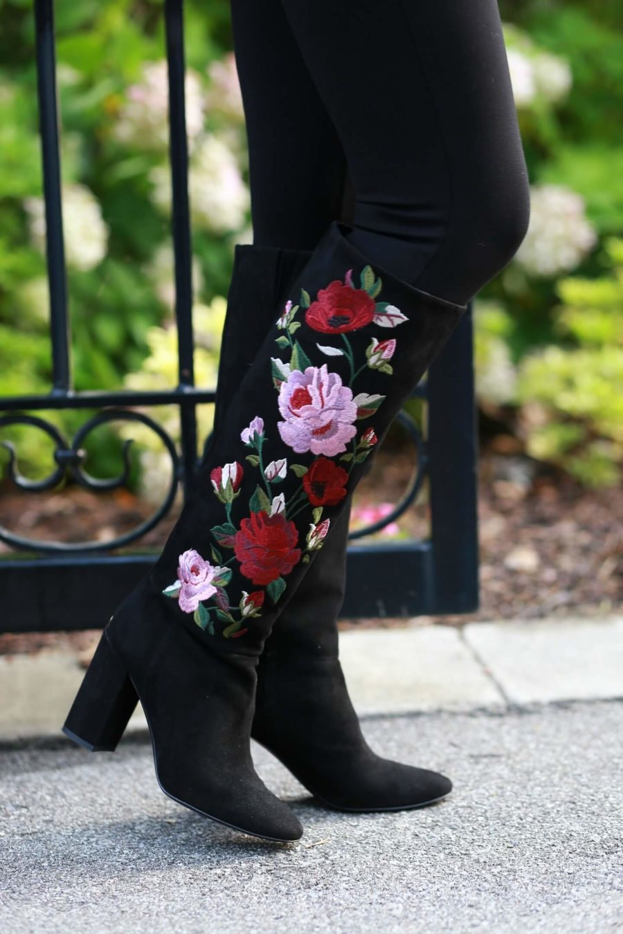 Kate Spade flower embroidered boots fall 2017