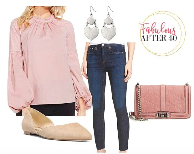 Pink Victorian Collar Skinny Jeans