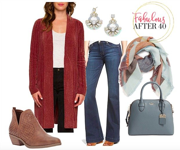Red Cardigan Wide Leg Jeans