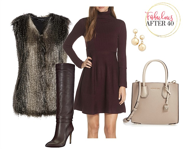 How to wear over the knee boots |dark brown over the knee boots sweaterdress and faux fur vest