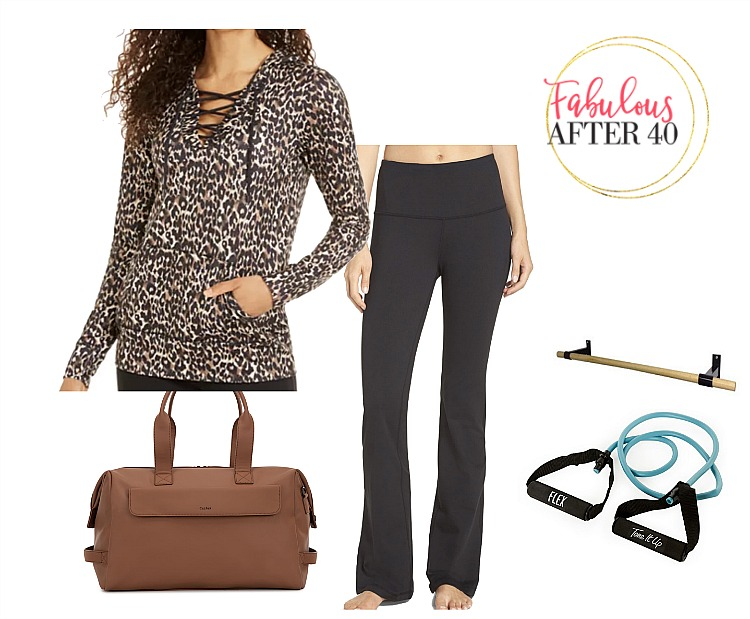 Fitness Clothes - Flare leggings, leopard print sweatshirt | styled by Fabulous After 40
