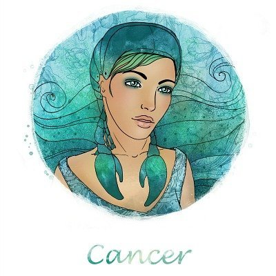 Illustration of cancer zodiac sign as a beautiful girl