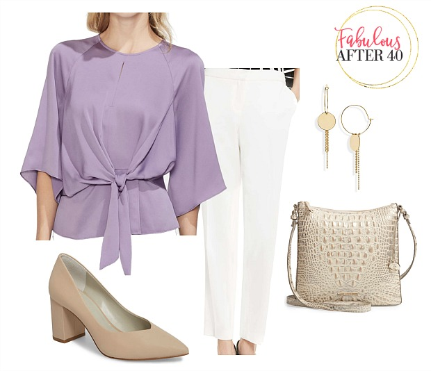 Bridal Shower Guest outfit- Lilac Top, white pants styled by Fabulous After 40