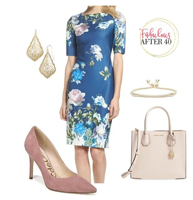 What to wear to a christening as a Guest - Blue floral dress and pink heels for Christening guest styled by Fabulous After 40