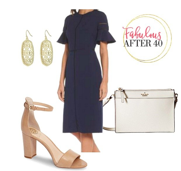 What to wear to a christening - Navy shift dress with nude heels for Godmother styled by Fabulous After 40
