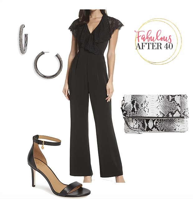 las vegas club attire | black jumpsuit with lace collar, heels, snakeskin bag outfit| styled by Fabulous After 40
