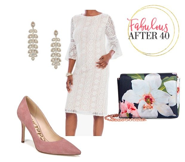 What to wear to a Christening - White Lace dress and pink heels outfit for grandmother styled by Fabulous After 40
