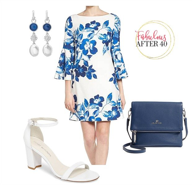 Blue floral dress for what to wear to a baby shower