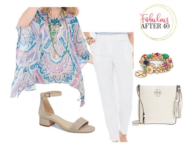 White pants and print top for women over 40