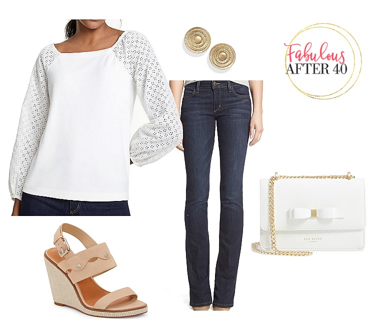Summer Tops with Sleeves - White eyelet