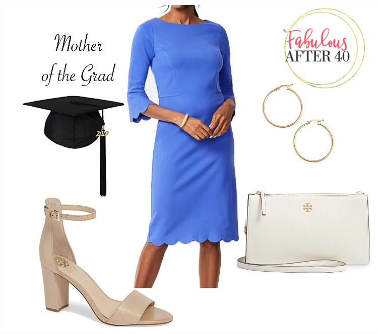 f1ba5c1db2f Mother of the graduate outfit - Blue dress with scalloped hem and sleeves
