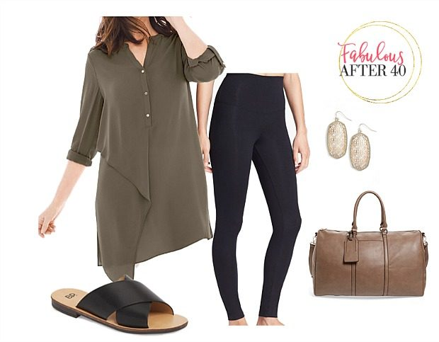 Airplane Outfits for Summer Travel | leggings, long olive button up top | styled by Fabulous After 40