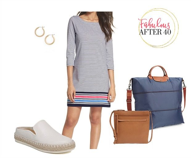 Comfy Airplane Outfits for Summer Travel | Striped Cotton Dress | Styled by Fabulous After 40