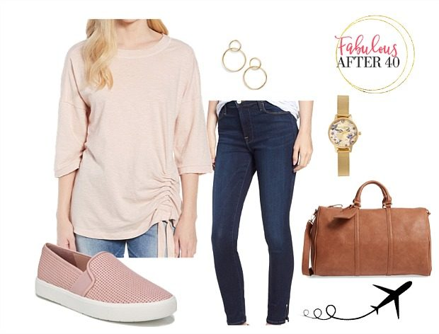 5 Comfy Airplane Outfits for Summer Travel |Skinny Jeans with blush Slip on Sneakers | Styled by Fabulous After 40