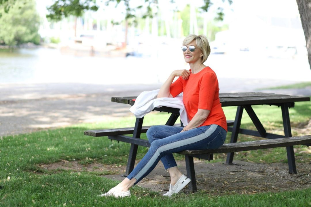 side striped jeans for women worn by Deborah Boland | Fabulous After 40
