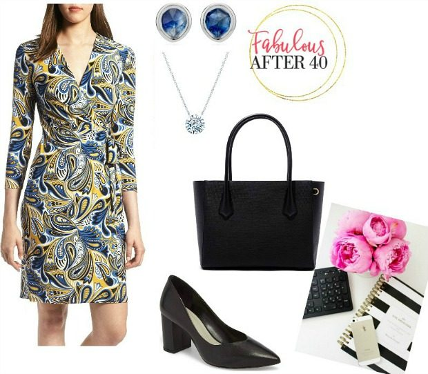 Summer work outfit - wrap dress for the office