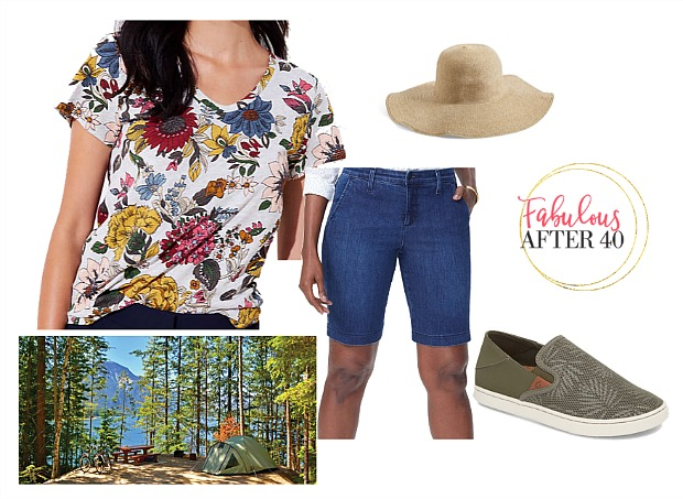 denim short and floral tee | What to Wear To the Lake: 4 Cute Oufits | styled by Fabulous After 40