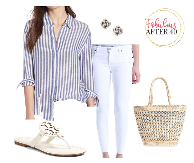 Boat party outfit - blue striped shirt and white jenas styled by Fabulous After 40